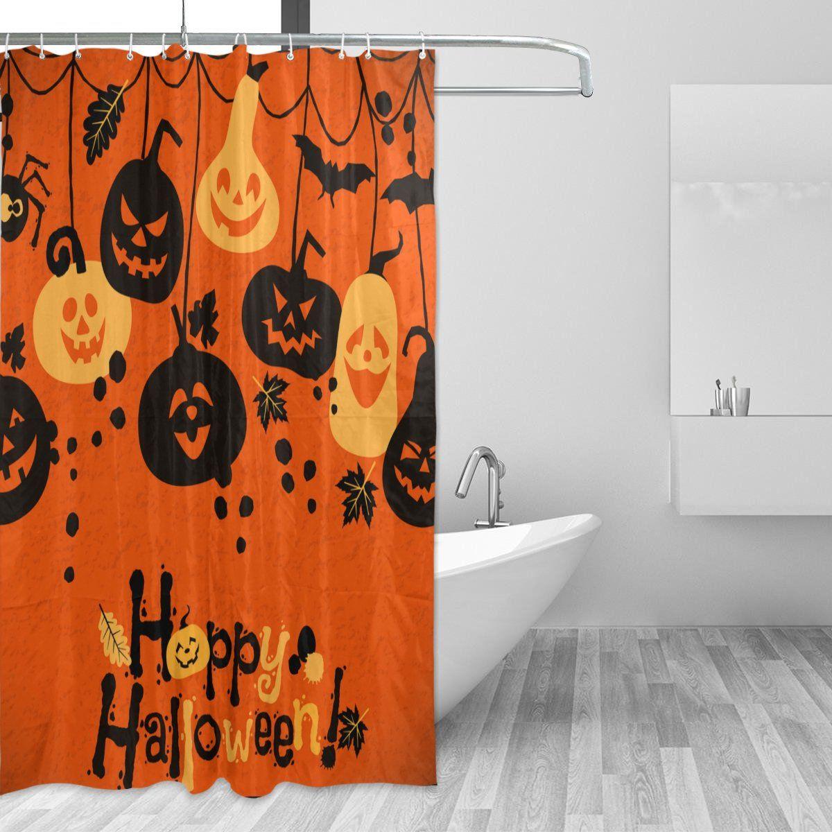 Vantaso Shower Curtains 72x72 Happy Halloween Hanging Pumpkin Bat