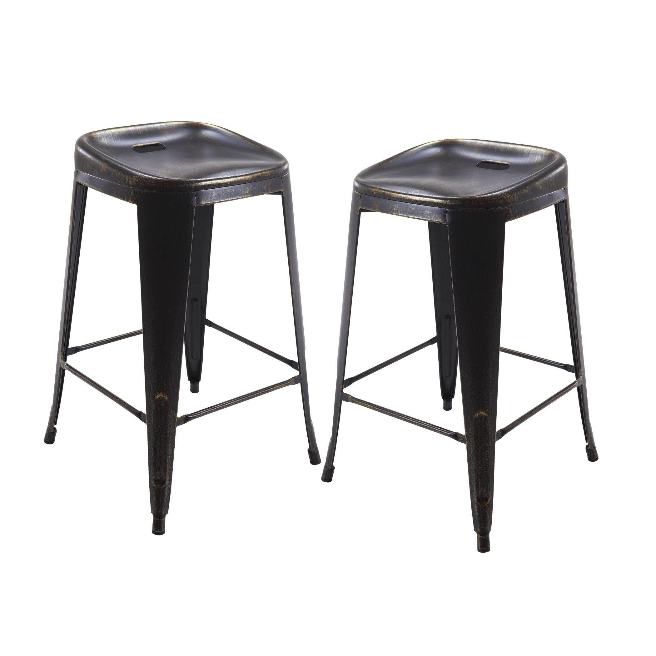 Vogue furniture direct metals 30 backless metal stool in matt fully assembled set of 2 black silver