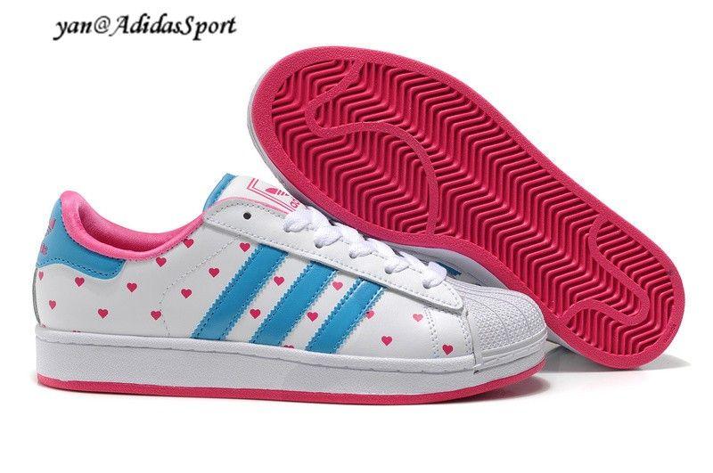 hot sale online e06e4 36d5a Adidas Originals Superstar II women white blue sky deep pink heart of Point  of sneakers HOT SALE! HOT PRICE!