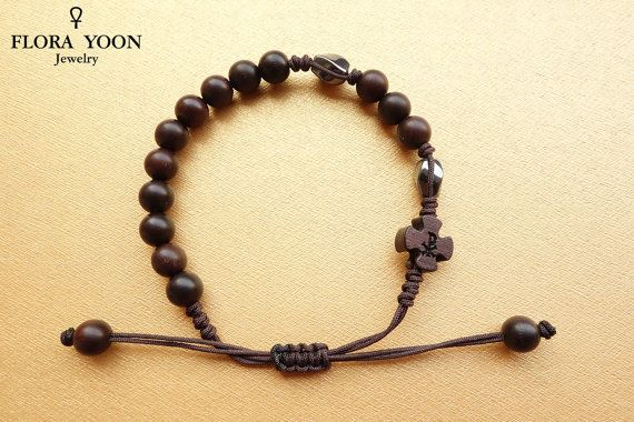 Knot Rosary Bracelet With Wooden Beadshematite Beads