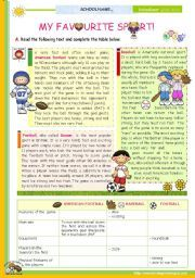 english worksheet the 1st 45 minute lesson of 2 on the topic my favourite sport reading. Black Bedroom Furniture Sets. Home Design Ideas