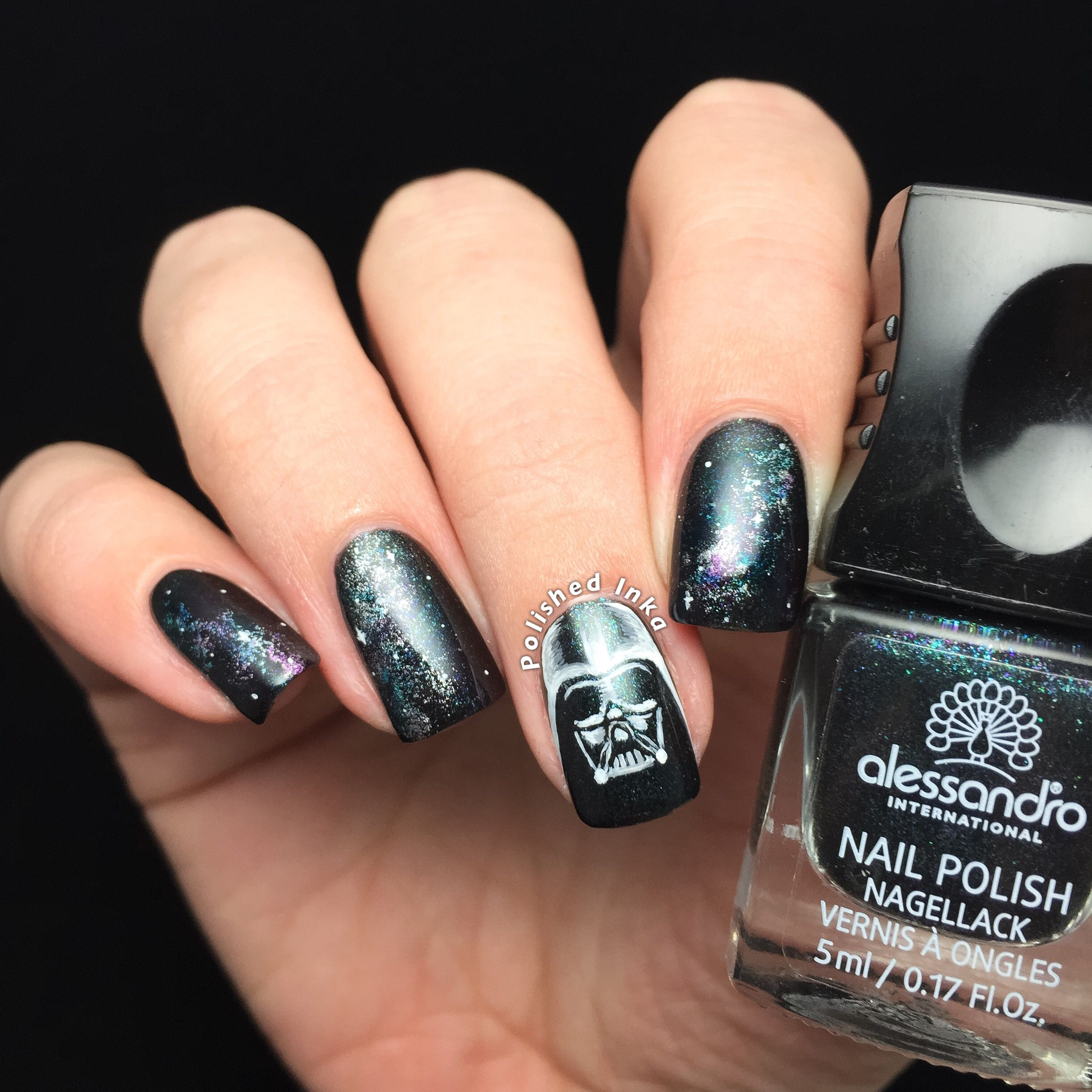 Darth Vader Galaxy Nail Art | Polished Inka | Nail envy | Pinterest ...