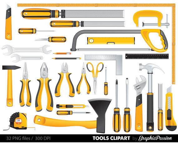 Yellow Tools Clipart Set Tools Clip Art Digital Files Helping Daddy Toolbox Clipart Handtool Clipart Clip Art Tools Tool Box