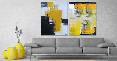 Schilderij kiezen bij je interieur. Kies kleuren die in je interieur terugkomen. Bij een effen bank kan een bont schilderij. Hang bij een gedessineerde bank geen druk schilderij.