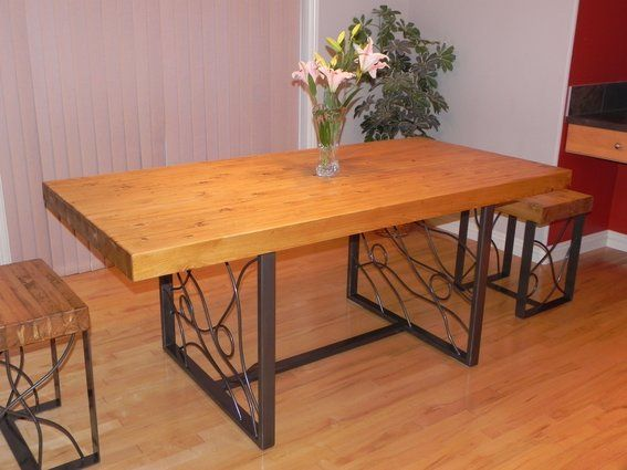 Butcher Block Dining Table With Bent Iron Inlaid Base Butcher Block Dining Table Butcher Block Tables Dining Table