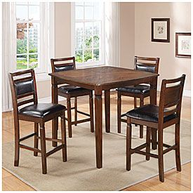 5 Piece Wooden Pub Set With Padded Seats Rustico