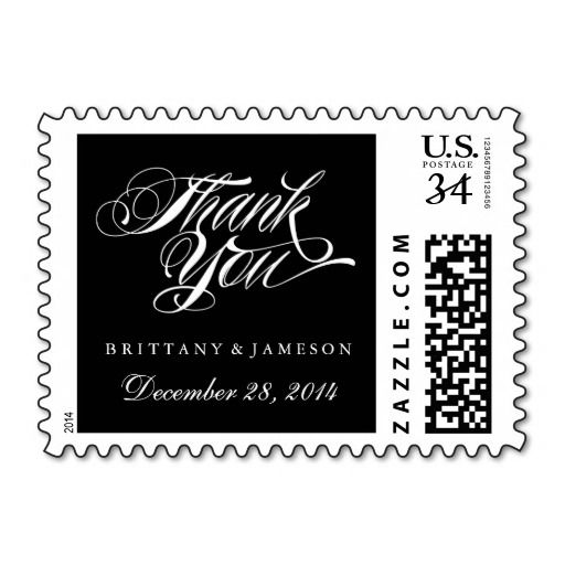 Black and White Thank You Wedding Postage Stamp with bride and grooms names and wedding date