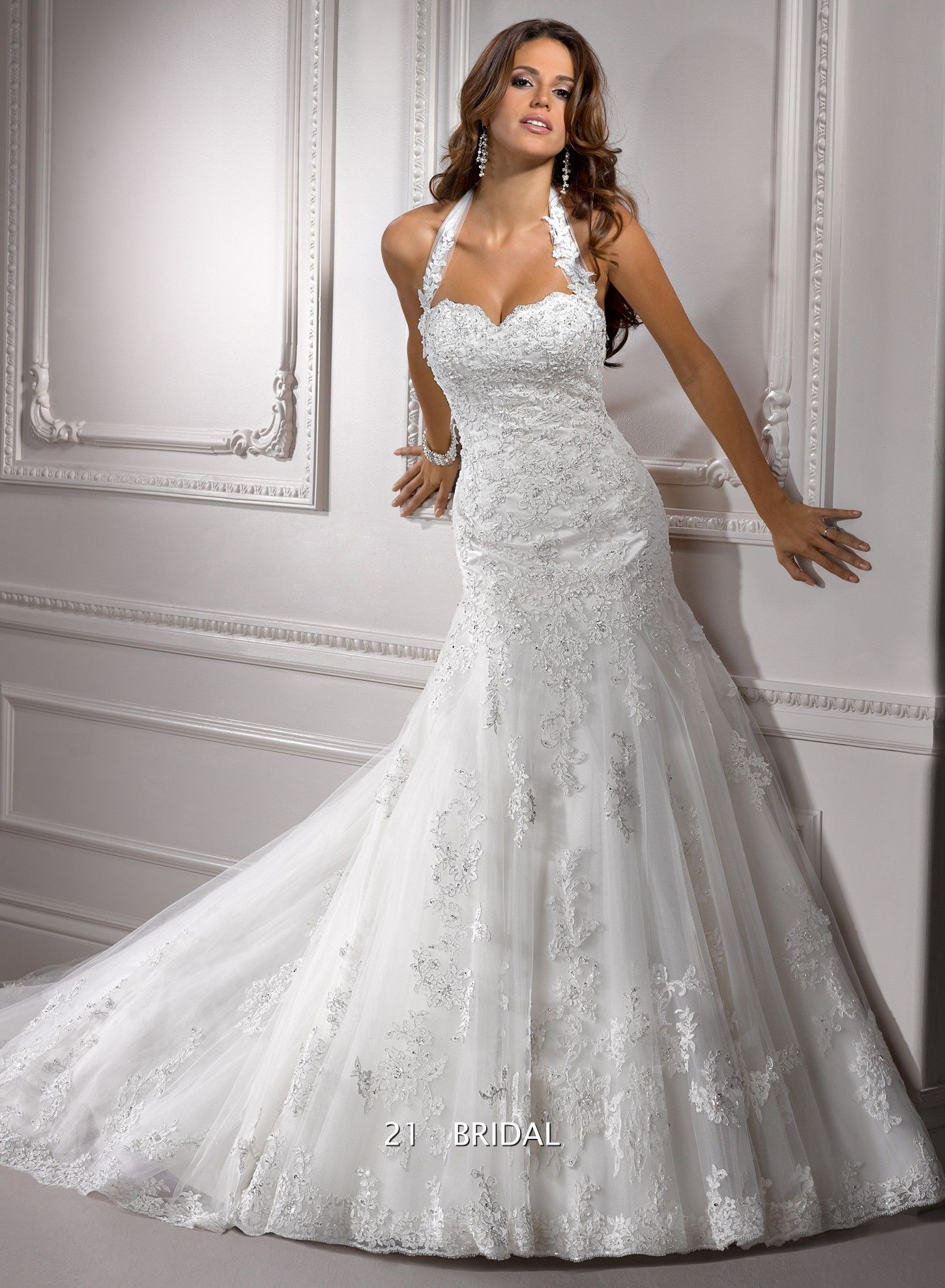 Lace mermaid wedding dress with cathedral train  Love this Princess Tulle Appliques Halter Cathedral Train