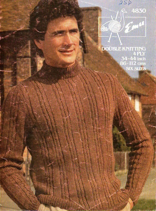 vintage mens cable sweater knitting pattern PDF download mens polo ...