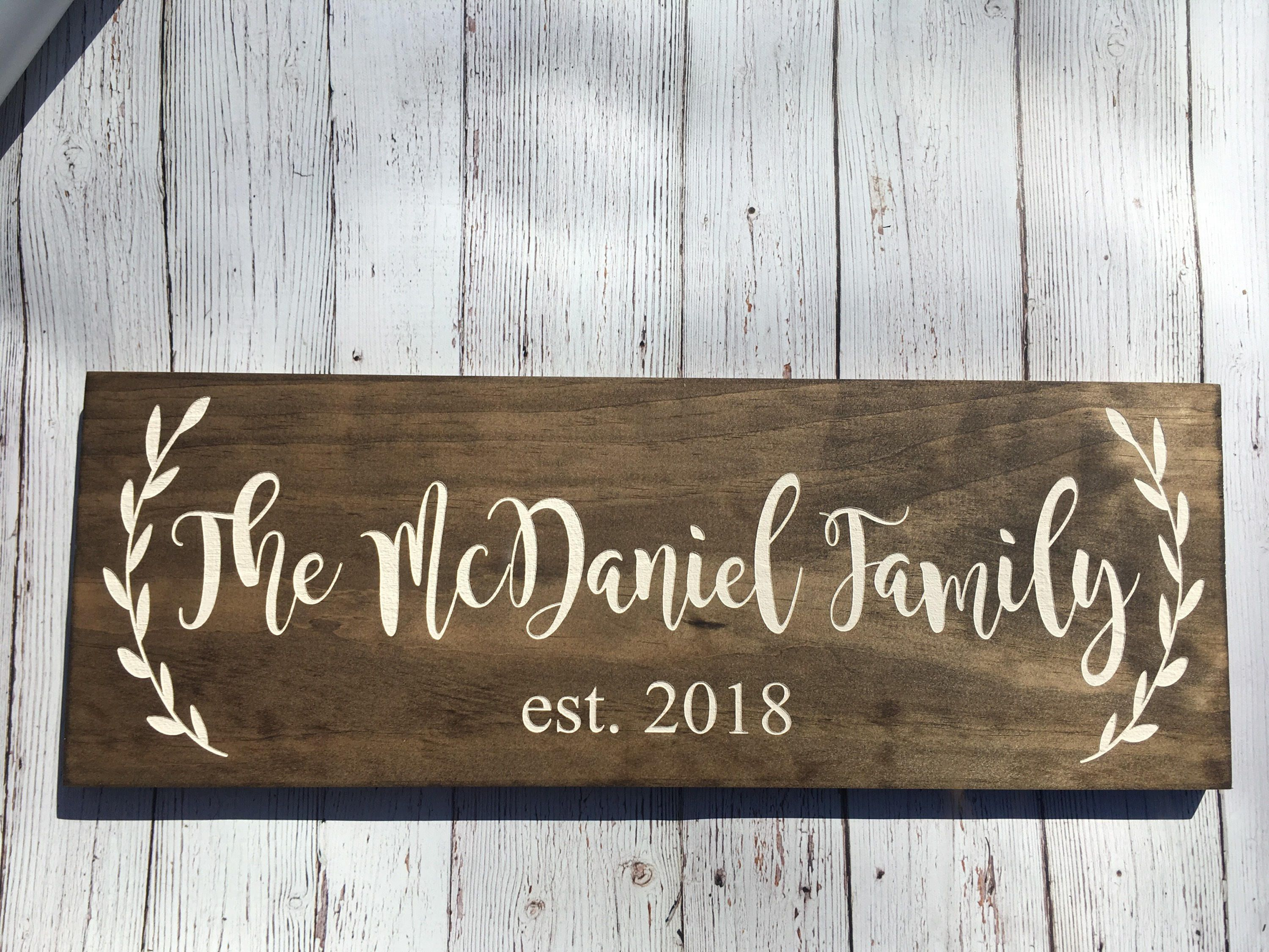 Laser Engraved Rustic Family Sign Wood Family Established Sign Wedding Established Signs Personalized Wedding Gift Last Name Sign Rustic Family Sign Family Established Sign Wood Family Wood Signs