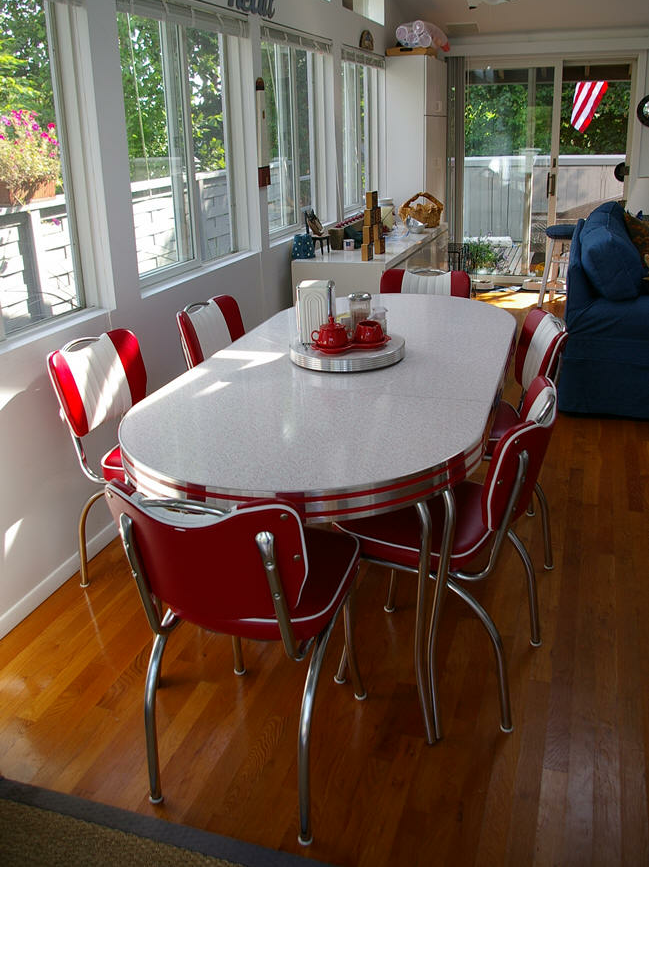 Modern Reproduction Of Diner Setting Retro Leaf Table And 6 Red White Chairs