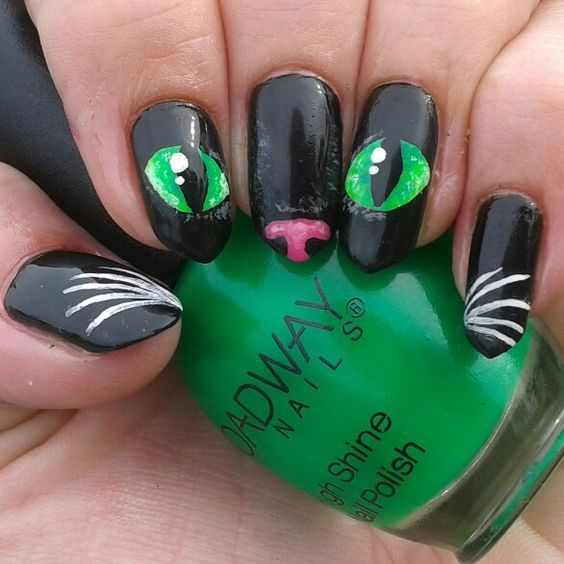 bleck cat nail design with green eyes | Cat Nail Designs 2017-2018 ...
