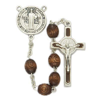 """6mm Carved Wood Beads and St Benedict Center Rosary Men's Religious Jewelry Men's Rosaries Gift Boxed Enlightened Expressions. $39.99. Gift Boxed. Crucifix Size: 1 3/8"""" LengthRosary Chain Size: 18"""" Length"""