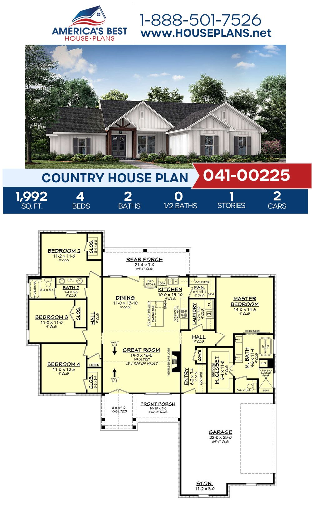 House Plan 041 00225 Country Plan 1 992 Square Feet 4 Bedrooms 2 Bathrooms In 2020 Open Floor House Plans Country House Plan Single Level House Plans