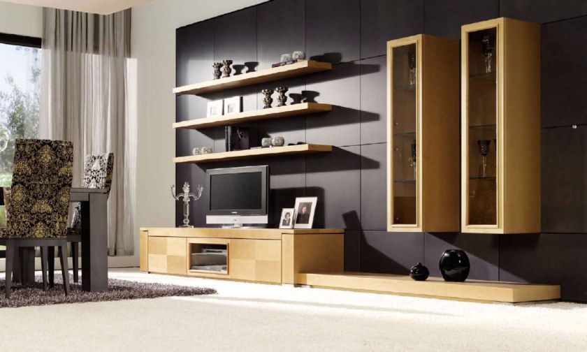 Modern Living Room Design With Three Wooden Wall Shelves Above Tv