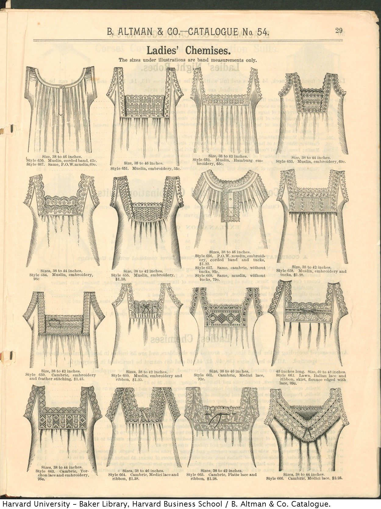 Ladies Chemises from the Winter 1886-87 B. Altman & Co. catalogue - inspiration for necklines on summer tops