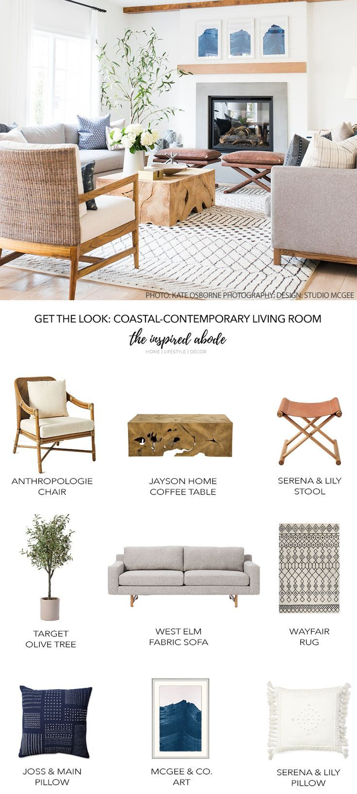 Get the Look: Coastal-Contemporary Living Room — The Inspired Abode