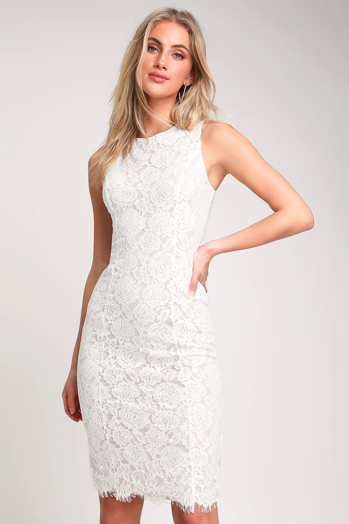 32++ White lace sleeveless dress ideas in 2021