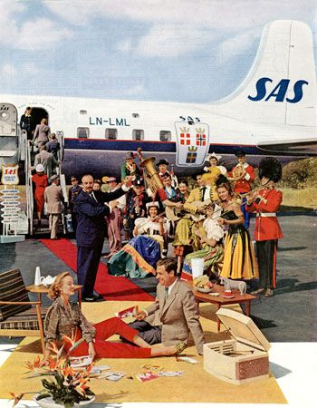 SAS Scandinavian Airlines; System service to Europe advertisement 1956; Holiday magazine; paper, ink; SFO Museum