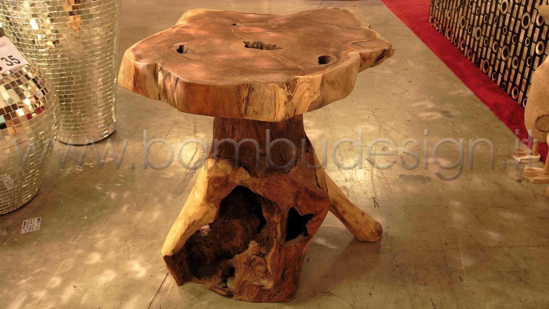 Tavolino sgabello etnik teak h bambù design milano casa di
