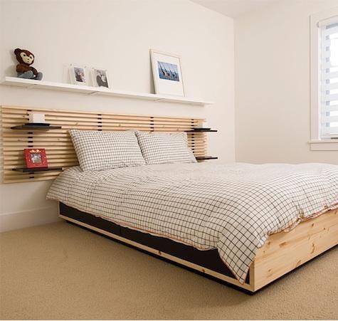 possibilite de combiner tete de lit mandal etageres lack au dessus pour bibliotheque deco