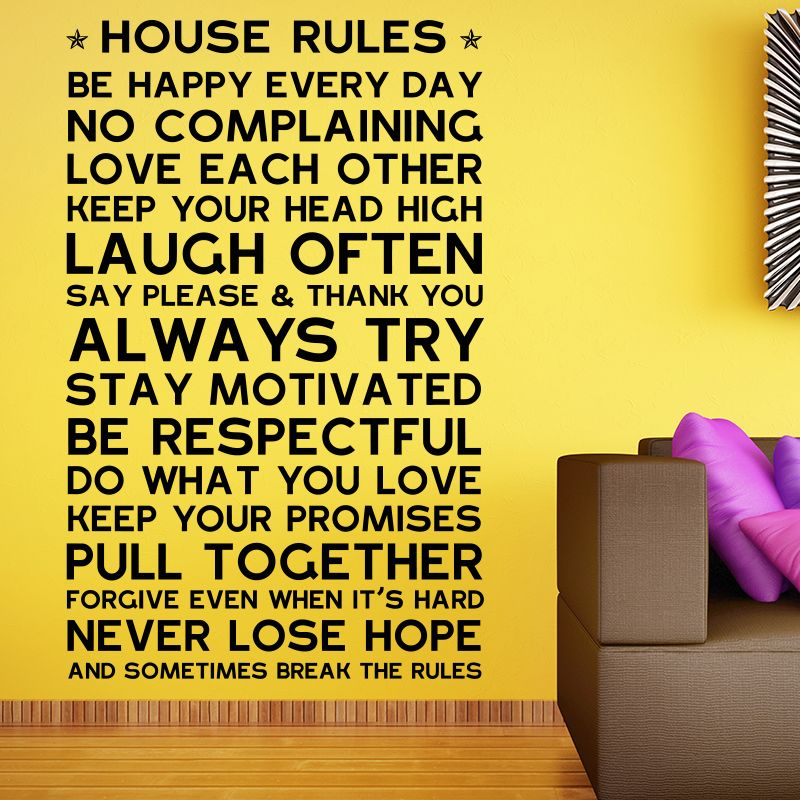 Home rules wall sticker | Home decor ideas | Pinterest | House rules ...
