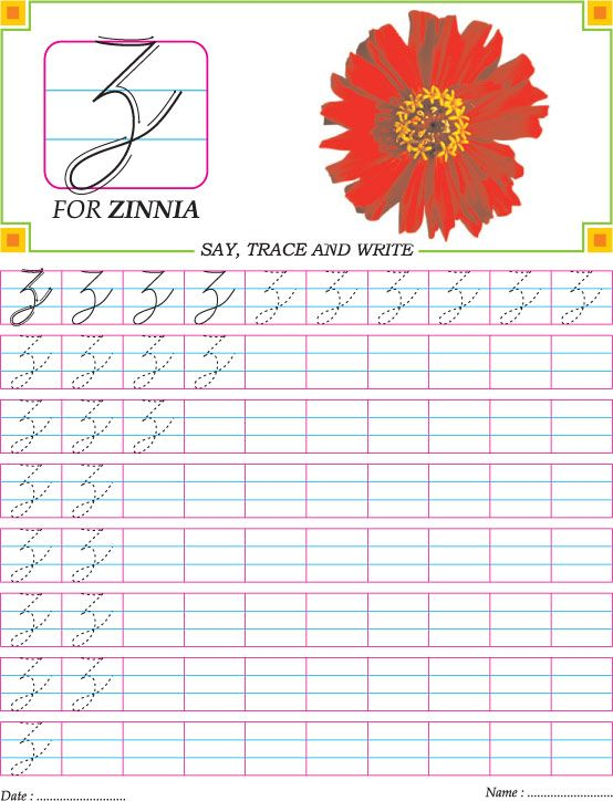 Cursive capital letter Z practice worksheet | Cursive ...