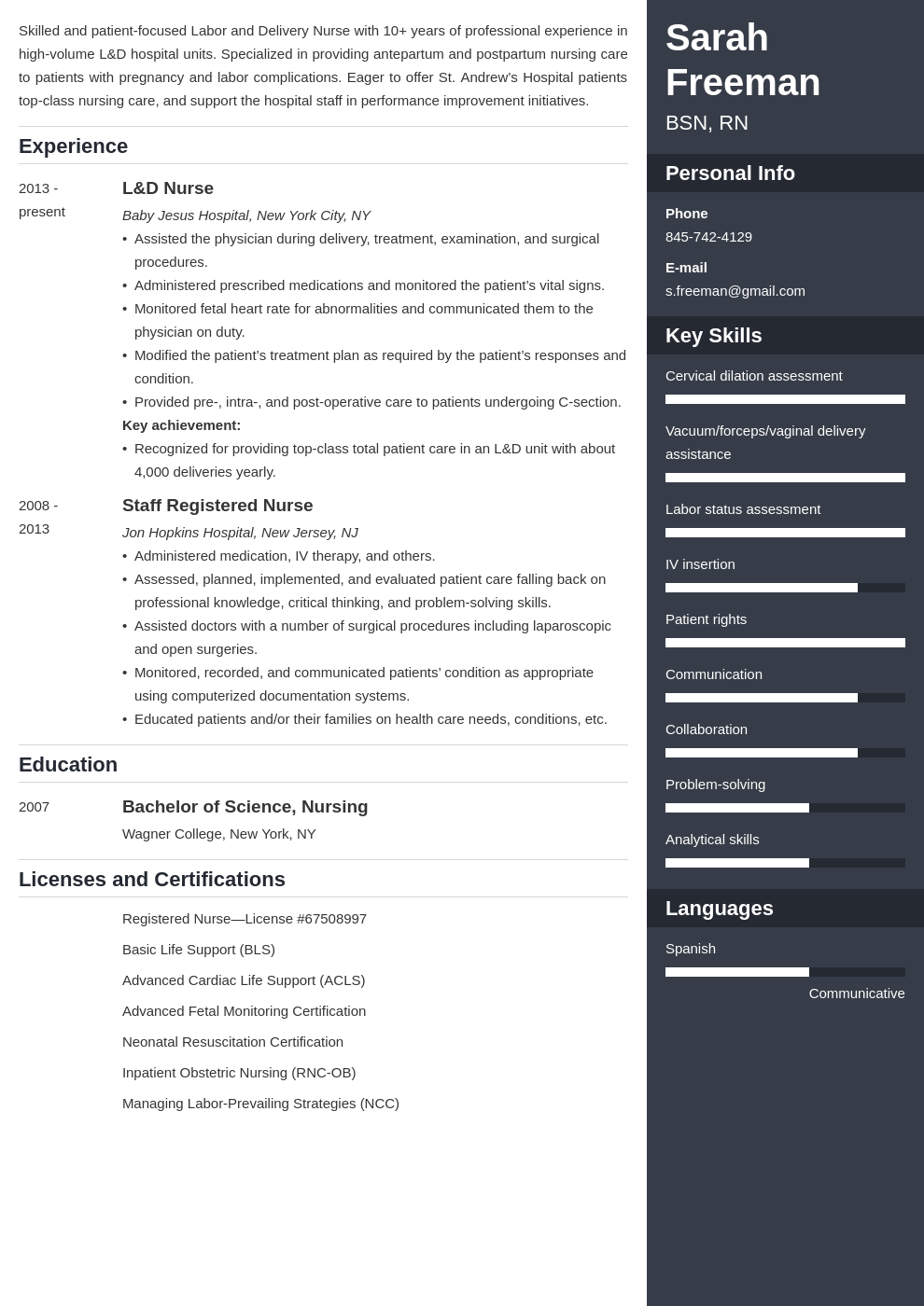 labor and delivery nurse resume example template enfold in