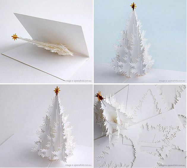 Paper christmas tree paper crafts diy pinterest for Kirigami christmas card