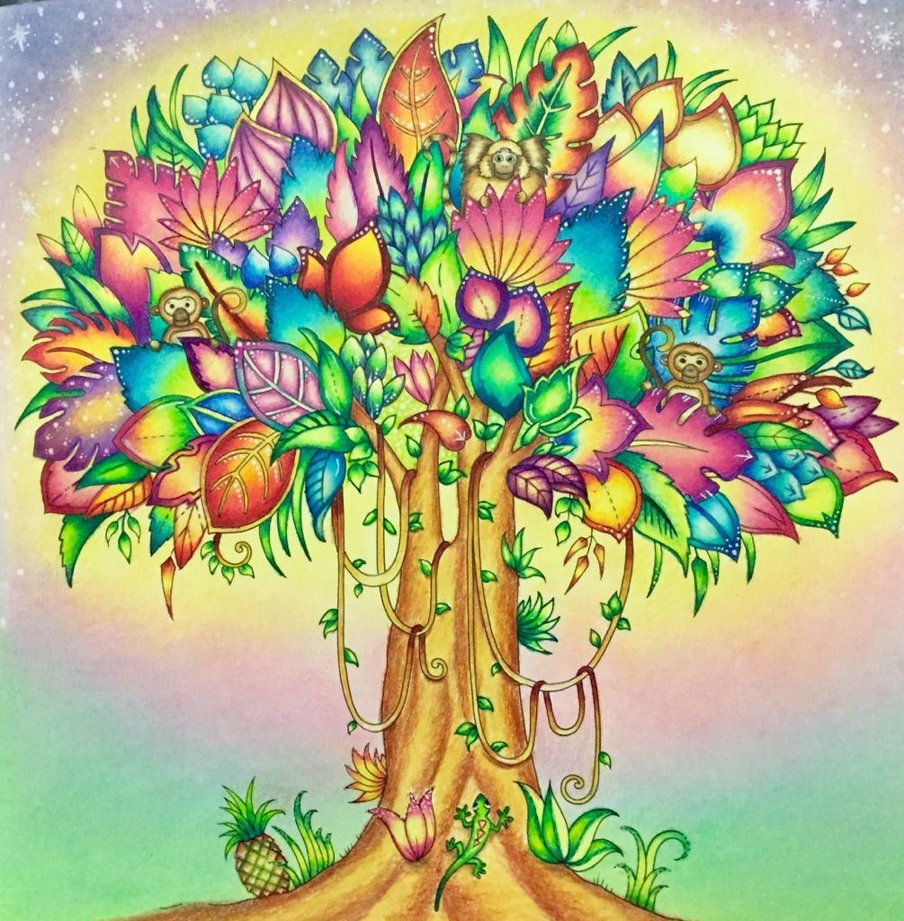 Tree from Magical Jungle (Prismacolor pencils and pastels) | MJ ...