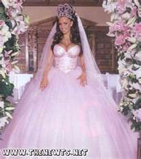 Katie Price (aka Jordan) on her wedding day. Her dress and wedding carriage is the inspiration for many gypsy weddings.