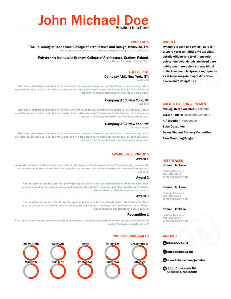 Architecture Cover Letter Resume  Minimal 2 Theme Customizableprofessional