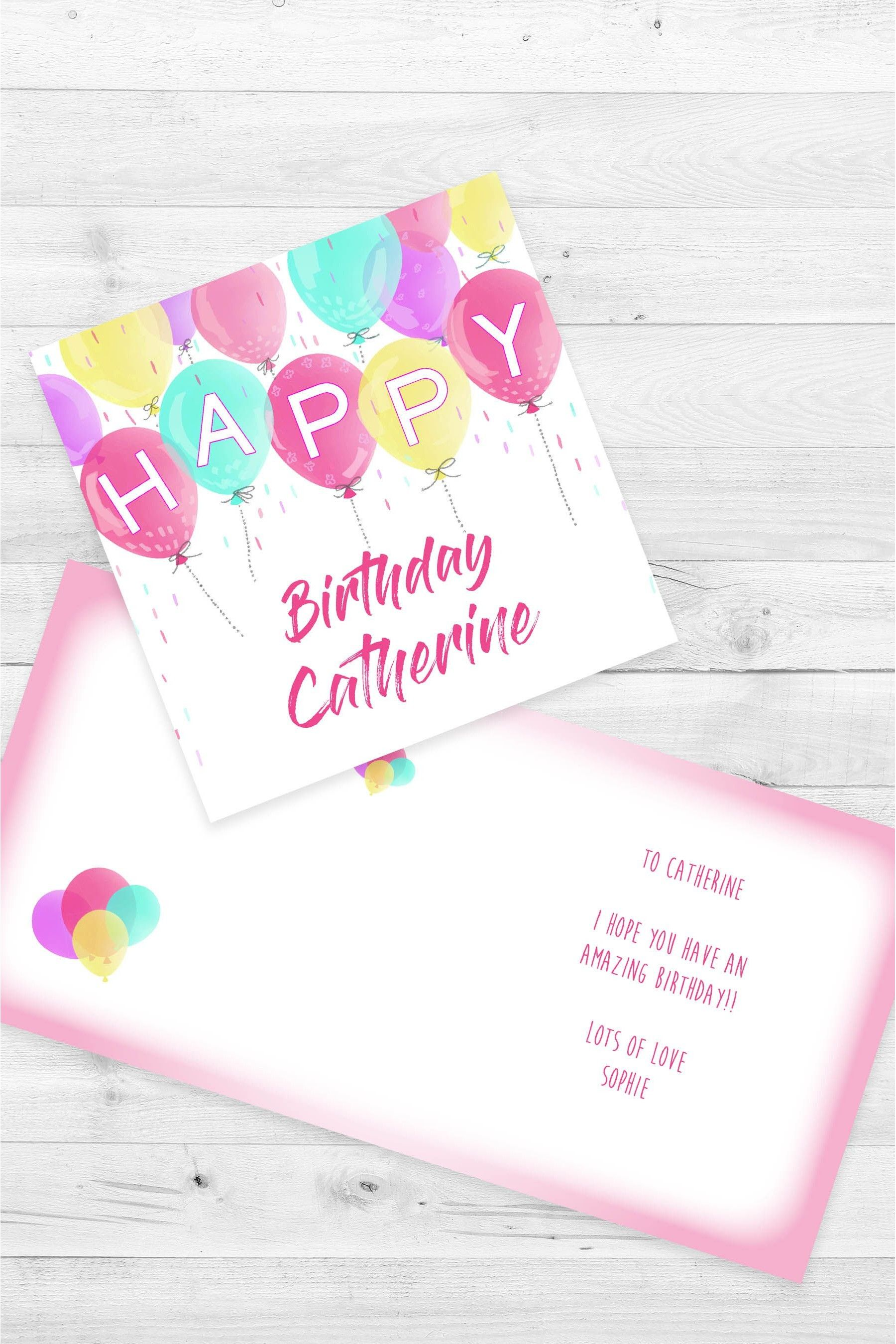 Personalised Balloon Birthday Single Card by Croft Designs