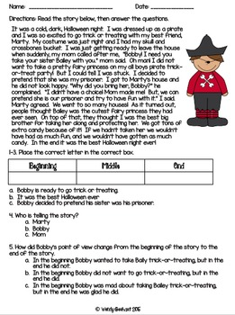 Point Of View Worksheet Language Arts Writing Halloween Reading Comprehension Halloween Reading Passages Point of view grade worksheets
