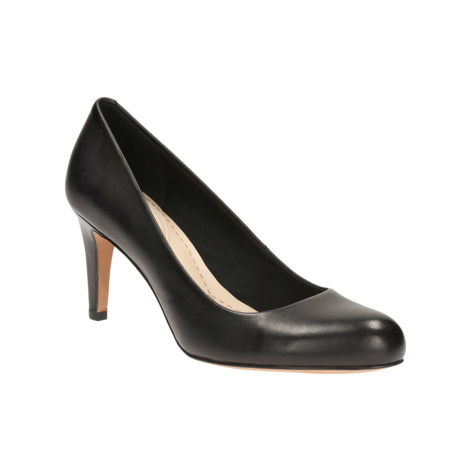 Clarks Womens Carlita Cove Black Leather Smart Court Shoe
