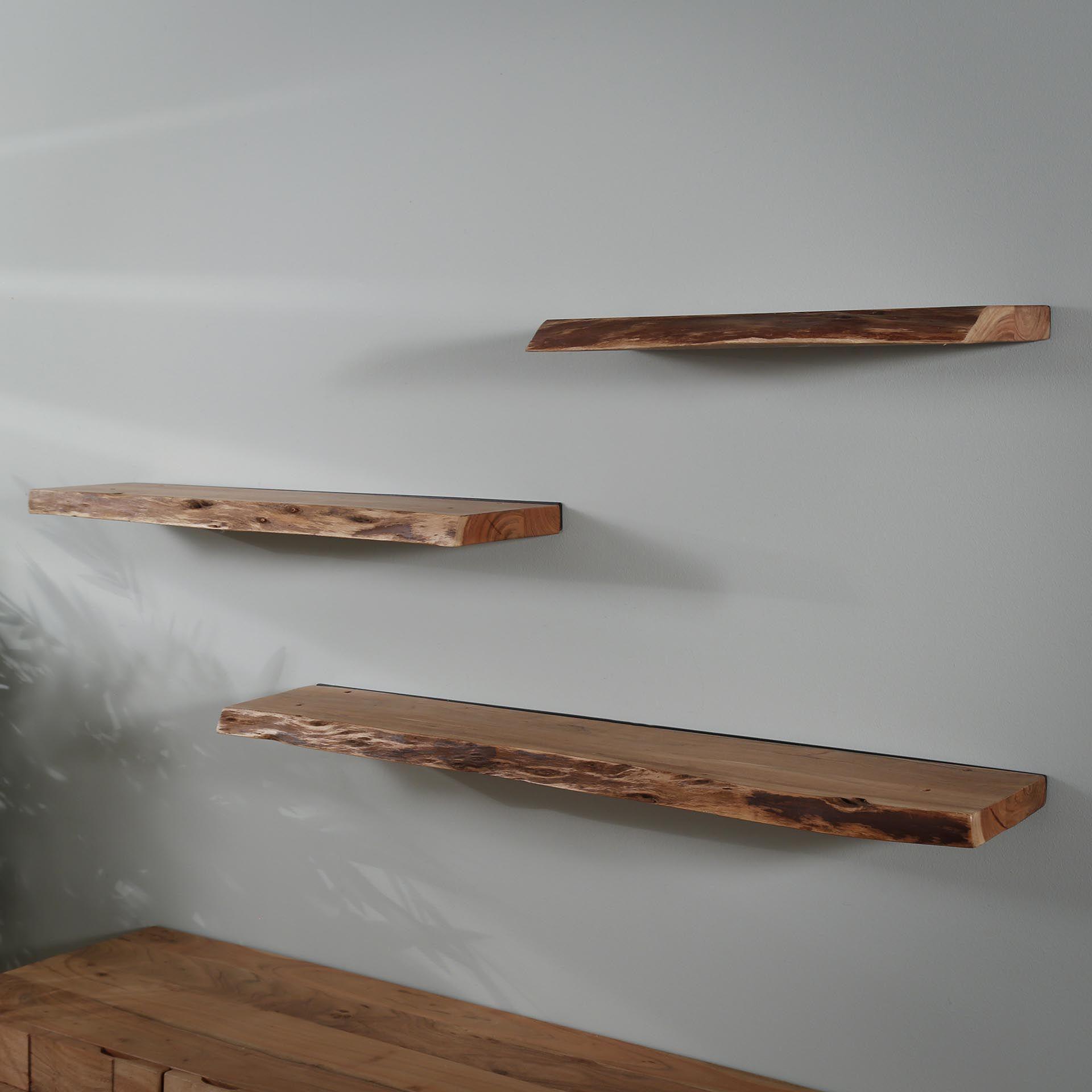 etagere murale bois massif bordure