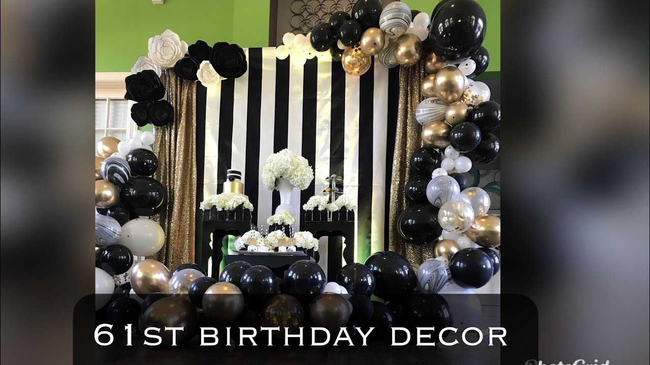 61st Birthday Party Decor Black White And Gold Balloon Garland