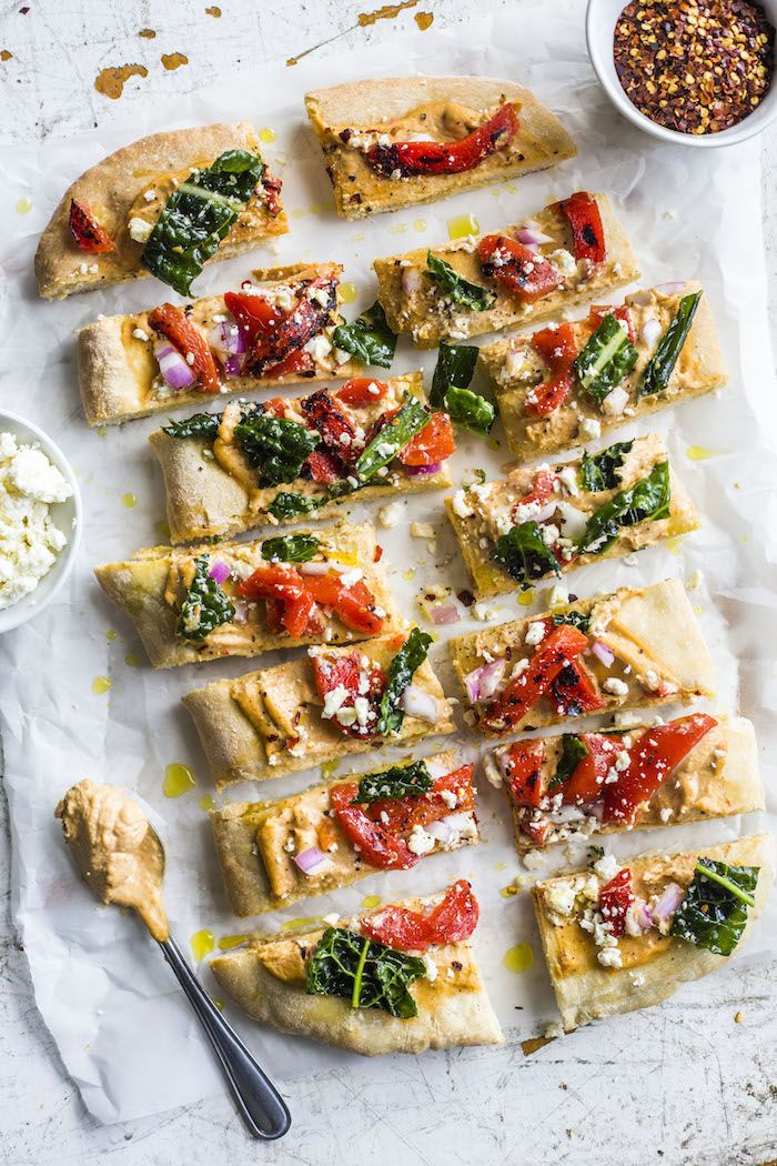 Roasted Red Pepper Hummus Flatbread The Almond