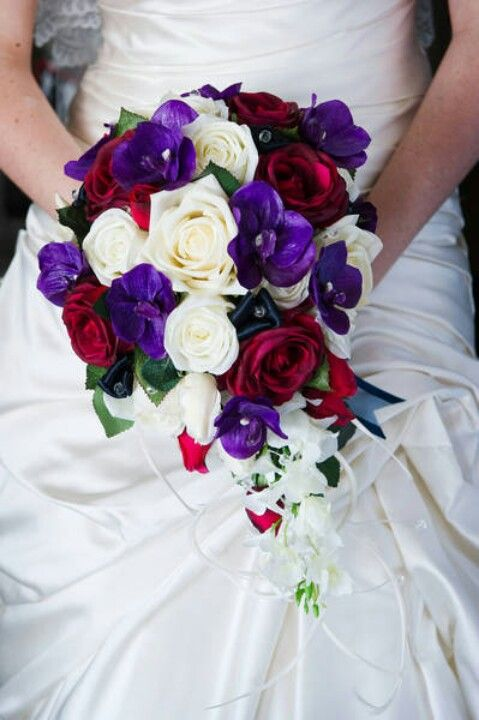 Red Purple Wedding White Red And Purple Bouquet The Wedding