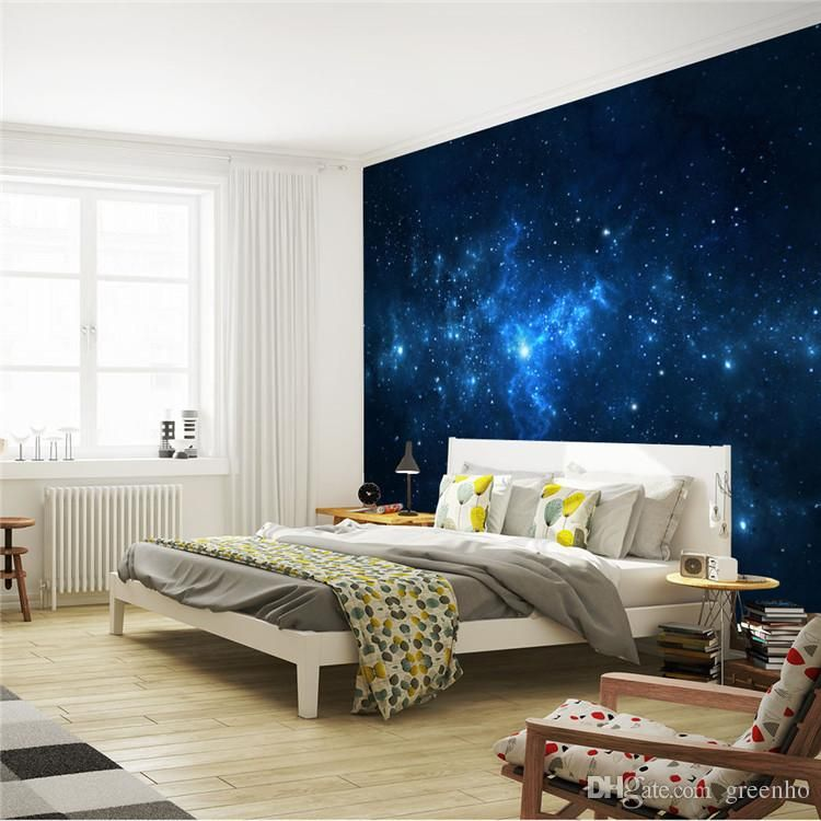 Blue Galaxy Wall Mural Beautiful NightSky Photo Wallpaper Custom Silk  Wallpaper Art Painting Room Decor Children