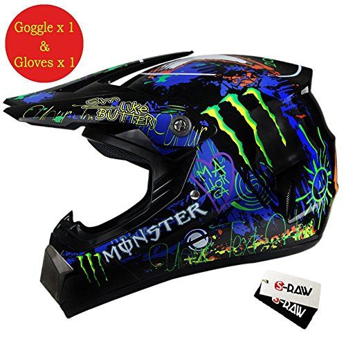 S Raw Dot Approved Motorcycle Helmet Goggles Gloves Gear Combo