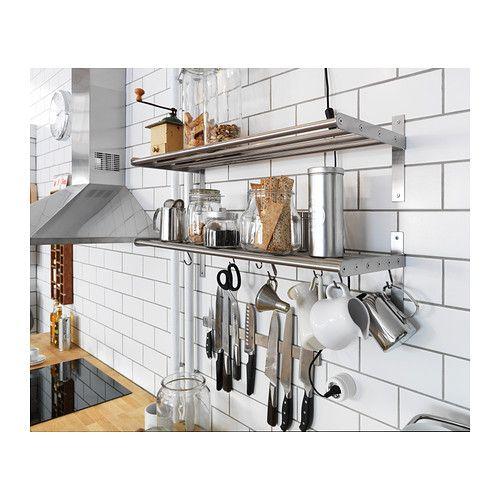 grundtal magnetic knife rack stainless steel magnetic knife rack shelves and kitchens. Black Bedroom Furniture Sets. Home Design Ideas