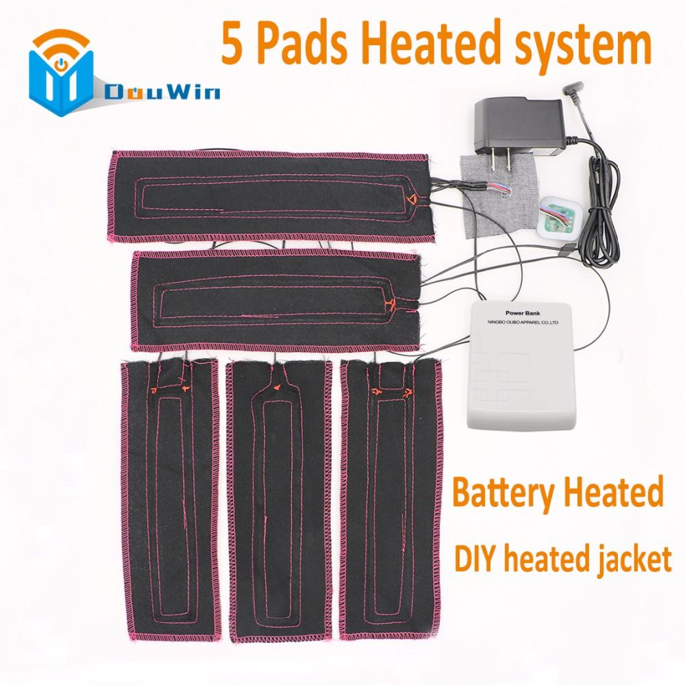Super Warm 5 Pads Battery Heated System Carbon Fiber Heated Winter
