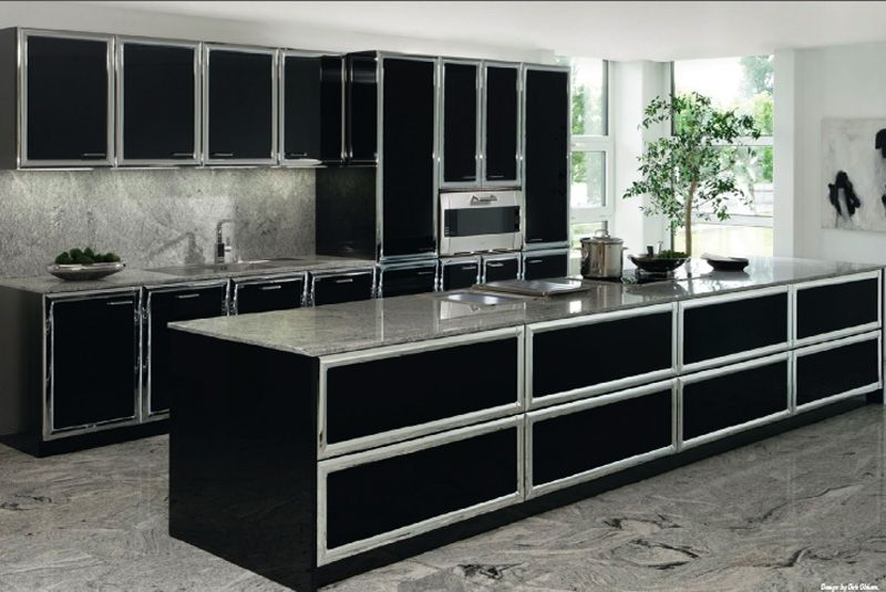 Allmilmo Classic Art Model 53b Black And Chrome Modern Kitchens