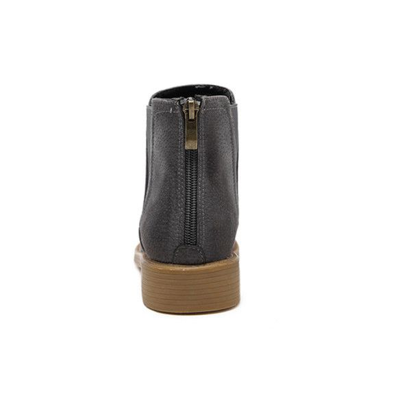 Grey Back Zipper Distressed Chelsea Boots (71 BAM) ❤ liked on Polyvore featuring shoes, boots, back zipper boots, back zip boots, distressed boots, distressed shoes and rear zip boots