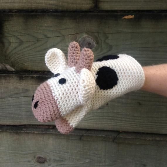 Items similar to Cow Crochet Hand Puppet on Etsy