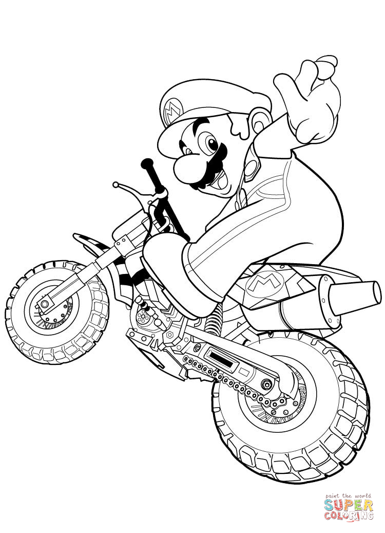 Mario Rides a Motorbike coloring page | Free Printable Coloring ...