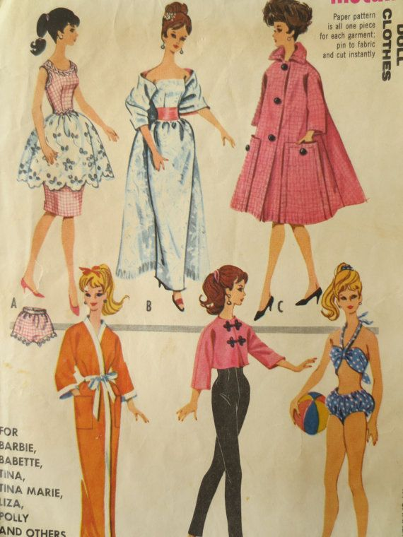 Vintage McCall\'s 6260 Sewing Pattern, 1960s Doll Clothes, Teen ...