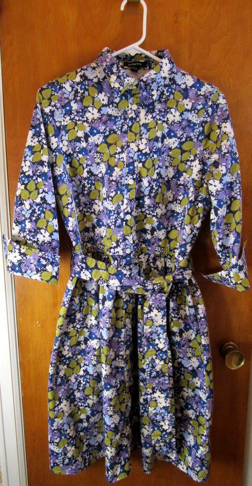 Lands End Shirt Dress Size 10 Floral Purple Blue Green Modest Knee Length Belted #LandsEnd #ShirtDress #Casual