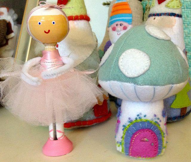 Felt Mushroom House by Roxy Creations, Ballerina Peg Doll by Little G